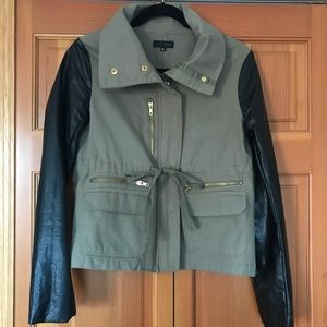 Army Green Utility Jacket w/ Faux Leather Sleeves